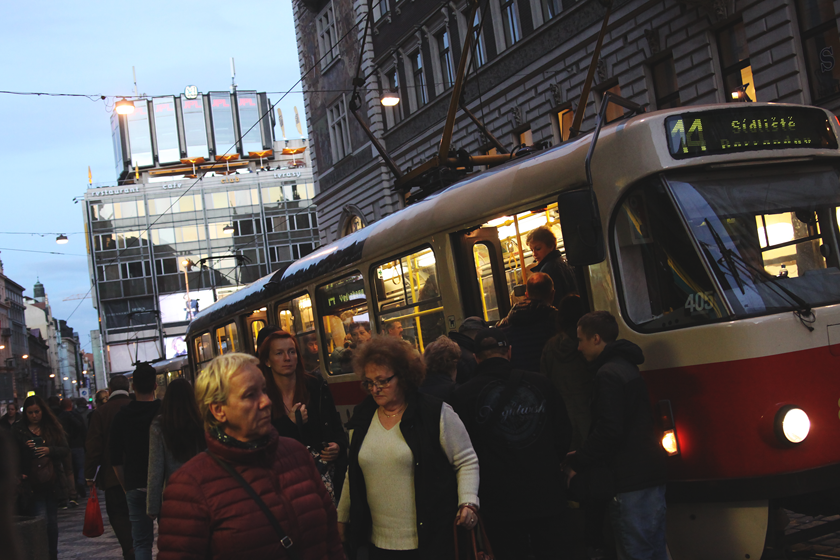 Tram and people in Prague