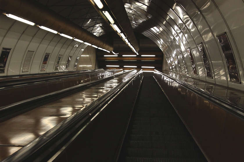 Prague subway escalator