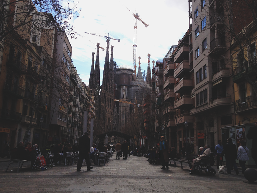 Sagrada Familia between houses