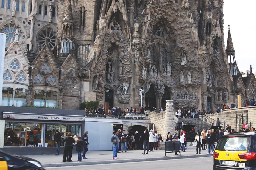 Sagrada Familia with tourists around