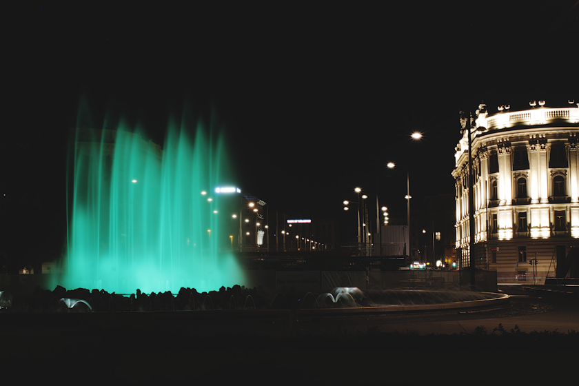 Vienna at Night Green Fountain
